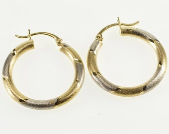 14K Grooved Pattern Two Tone Brushed Finish Hoop Earrings Yellow Gold