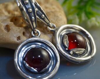 Garnet Earrings Hessonite Earring Sterling Silver Jewelry