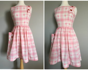 Vintage PINK and WHITE PLAID Picnic Dress/size XSmall-Small