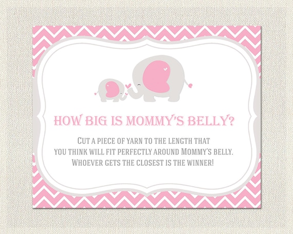 Baby Shower How Big Is Mommy S Belly Girls Pink Gray