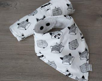 Monochrome Racoon Bib & Burp Cloth Set