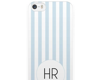 Personalised Blue and White Striped iPhone Case, iPhone 5, iPhone 5s, iPhone 6, iPhone 6s, iPhone 6 Plus, iPhone 7, iPhone 7 Plus