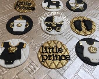 1 Dozen Royal Prince Themed Cupcake Toppers