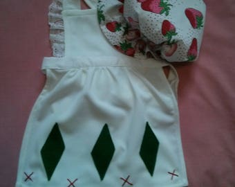 Strawberry shortcake three  pieces in one (hat, apron,  bloomer) Halloween costume