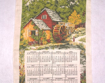 Vintage 1975 Calendar Kitchen Towel Linen Tea Towels Little Boy Fishing Pond Country Barn Scene Rod Opening for Wall Hanging