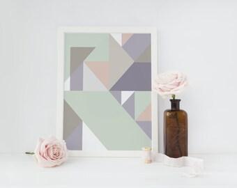 Abstract Print Poster, Pastel Print Poster, Geometric Print Poster, Minimalist Poster, Triangles Print, Pastel Wall Art, Pastel Abstract.