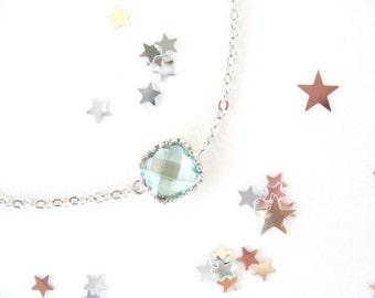 Erinite Green Bracelet. Silver bracelet. Bridesmaids bracelet. Clear green glass. Erinite bracelet. Prasiolite Bracelet