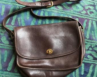 Vintage Coach Leather Purse Dark Brown Genuine Leather Crossbody Bag