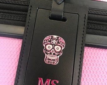 Skull luggage tag. Sugar skull luggage tag. Luggage tag skull. Luggage tag. Leather luggage tag. Luggage tag leather. Personalized bag tag.