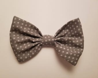 Gray Polka Dot Cotton Hair Bow