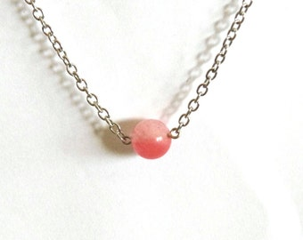 Cherry Quartz floating necklace - Gemstone necklace - single pink gemstone bead - heart chakra - silver chain
