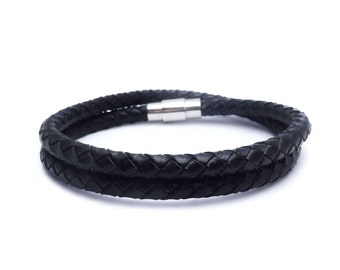 Mens bracelet Black braided leather bracelet Wrap bracelet Mens Jewelry Men's Classic Jewelry Wrap bracelet Mens bracelet Gift for Him