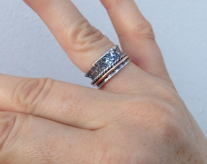 Spinner ring hammered sterling silver with twist silver and 14k rose gold fill bands handmade to order