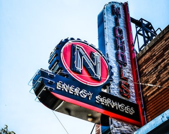 Oklahoma City - Neon Sign - Buildings - Automobile Alley - Architecture - Downtown - Nichols Energy Service Neon Sign