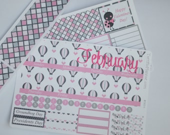 February Monthly Spread Kit Planner Stickers Removable Matte