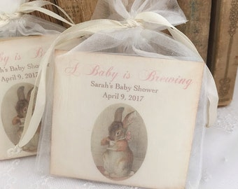 Bunny Tea Party Favors Baby Shower Tea Bag Favors Baby is Brewing Set of 10