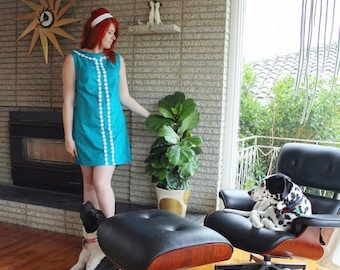 60s inspired shift dress in turquoise with daisy chain ricrac