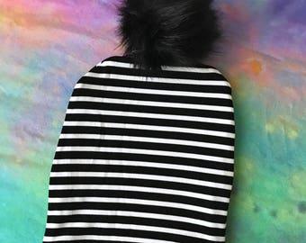 Baby Pom Pom Hat, Black White Stripe, Toddler Pom Pom Hat, Baby Hat, Fur Pom Pom, Slouchy Hat, Slouchy Pom Pom, Pom Pom Beanie, Baby Beanie