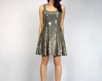 Gold Sequin Dress 80s Vintage Metallic Party Dress Gold Mini Holiday Dress 1980s Skater Dress - Extra Small to Small XS S