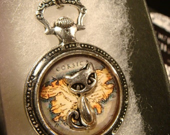 Cat over Vintage Map- Pocket Watch Style Pendant Necklace (2373)