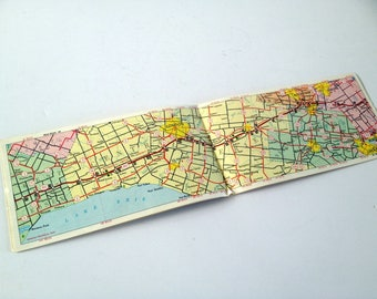 1966 Map Booklet of Highway 401, Ontario Canada, MacDonald Cartier Freeway, Southern Ontario's Main Street, FREE Shipping to CA and US