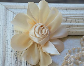 """Satin Fabric Roses, Rolled Rosettes, Ivory Satin Rolled Rosettes, 3"""" Satin Roses, Rolled Roses, Rolled Satin Roses, A11"""