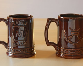Beauce pottery ceramic beer mugs