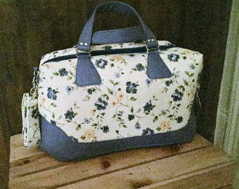 Handmade Brooklyn Traveler Bag, White with Blue and Yellow Flowers