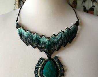 Chrysocolla Stone Macrame Necklace