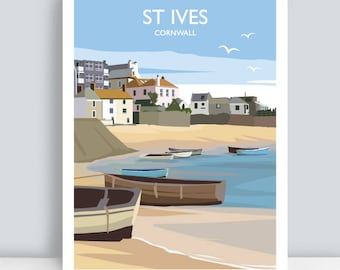 St Ives, Cornwall. HAND SIGNED Art Print/Travel Poster. Plus Free Postage!
