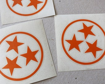 Tennessee Tri-Star Sticker, Car Decal, Laptop Decal.
