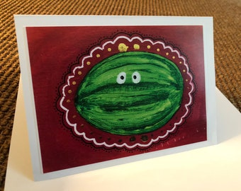 Watermelon Print Blank Card