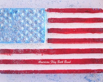 American Flag Bath Bomb/Hand Painted/July Fourth Bath Bomb/Independence Day Bath Bomb/Hostess Gift/Red White Blue Bath Bomb/USA Bath Bomb