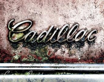 Cadillac Emblem on Pink Car Photograph