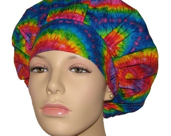 Multicolor Tie Dye-Bouffant Scrub Caps-Scrub Hats For Women-Scrub Caps-Surgical Hats-Surgical Caps-ScrubHeads-Tie Dye Scrub Hat