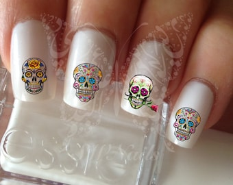 Sugar Skulls Nail Art Nail Water Decals Transfers Set #1