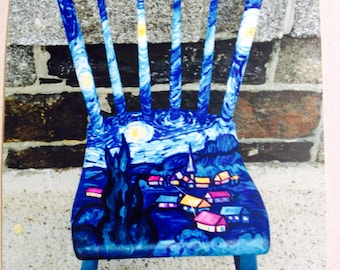 Starry Night Van Gogh beautiful hand-painted chair!!!