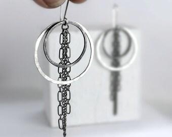 Hammered Silver and Black Hoop Chain Earrings, Double Hoop Earrings