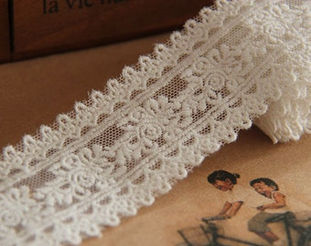 3 yards Lace Trim Ivory Tulle Rose Floral Bridal WeddingHeadband 1.57 inches width
