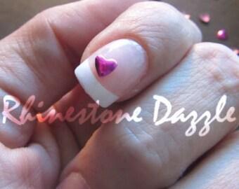 3mm pink metallic heart nail studs, 3D nail art, nail art, nail design, 3mm nail studs