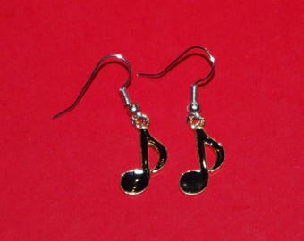 black music notes earrings