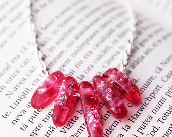 Pink Transparent Resin necklace - Resin beads - Metallic Silver Flakes - Modern Necklace  Gift for her - Anniversary Gift - Unique