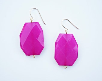 Faceted Gem Statement Earrings - CHOOSE YOUR COLOR -