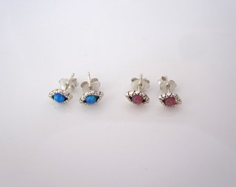 EVIL EYE with blue or red created opals sterling silver stud earrings, minimalistic protection studs
