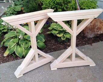 Farmhouse X-Frame Table Legs, Wood Table Legs, Trestle Table Legs