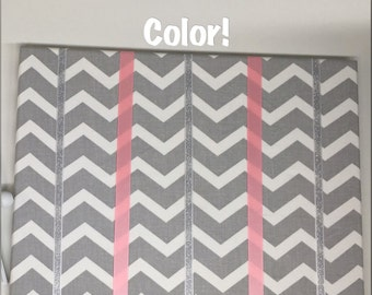 Gray and White Chevron Hair Bow Holder Hair Bow Organizer Choose your Ribbon Color