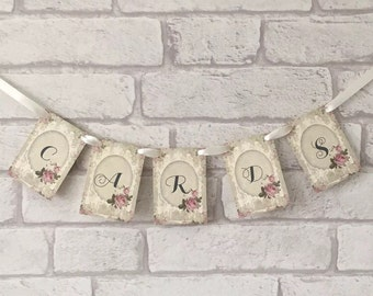 Vintage Wedding Card Garland Postbox Sign Pink Rose Shabby Chic