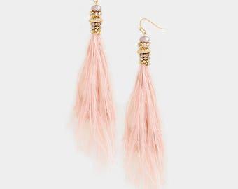 Pink Long Feather Earrings