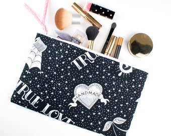 Large Make Up Bag, Cotton Zipper Pouch, Handmade Lovers, Tool Case for Crafters