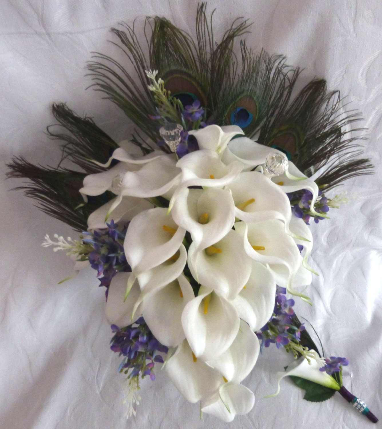 Calla Lily Wedding Bouquet Elegant Real Touch Mini White Peacock Feather Cascading Bridal